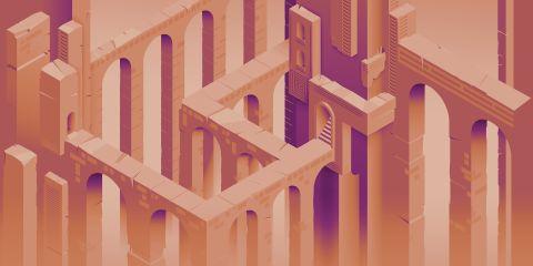 Carta da parati a fantasia Inkiostro Bianco della linea Digi-Maze con variante rosa