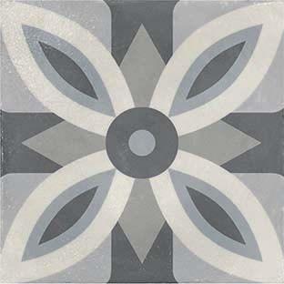 Gres porcellanato decorato della collezione epoque di Armonie-Marmetta Flora mix cenere-20x20