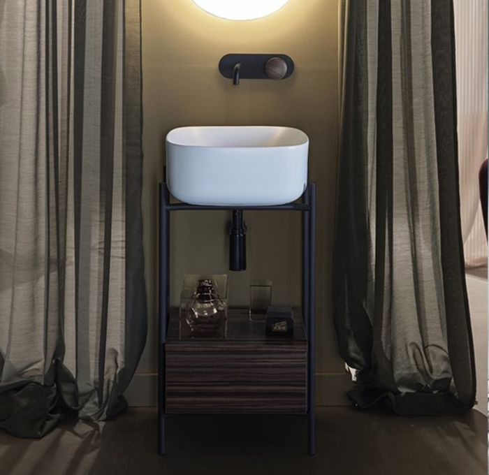 Mobile bagno tondino in metallo L40 della collezione Diva di scarabeo