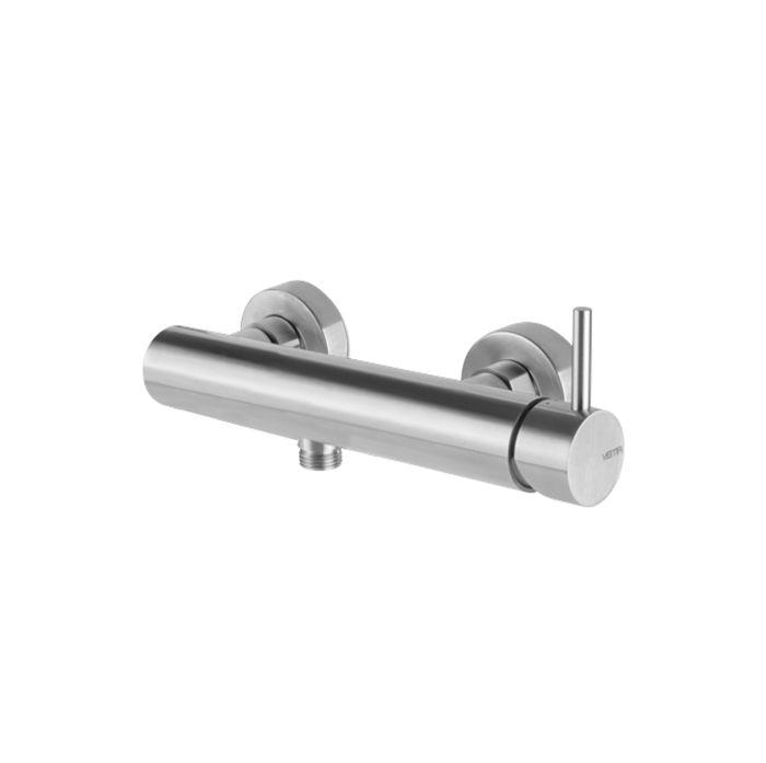 Miscelatore monocomando esterno per doccia (senza dotazione asta saliscendi) in acciaio inox timber steel di Vema