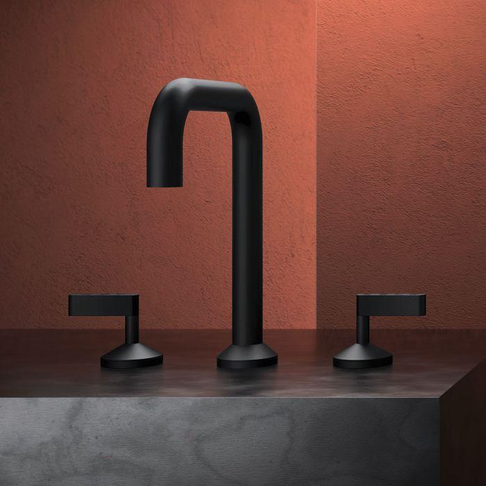 Rubinetto per lavabo a 3 fori da piano in ottone della collezione Koè di Geda