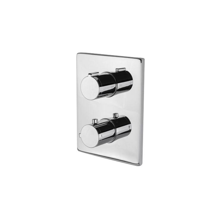 """Miscelatore termostatico quadro per doccia da incasso con maniglie di regolazione temperatura ed erogazione. Attacchi da 1/2"""". 2 uscite di Vema"""