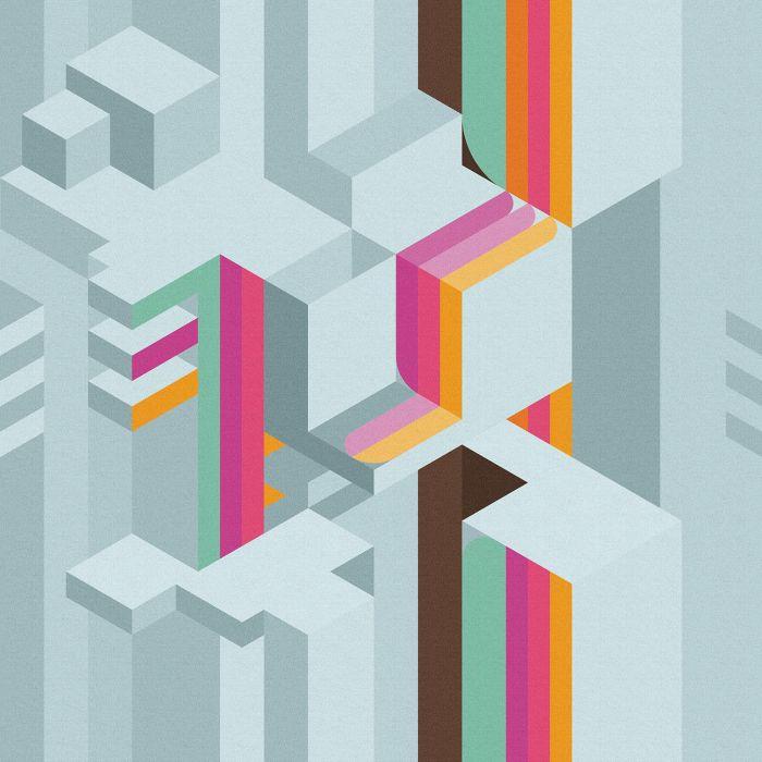 Carta da parati a fantasia Inkiostro Bianco della linea Tetriso con variante grigia