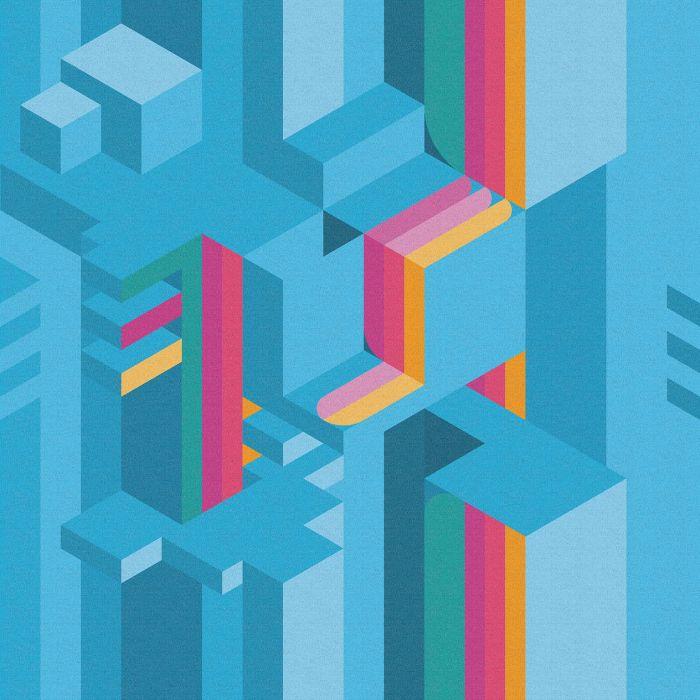 Carta da parati a fantasia Inkiostro Bianco della linea Tetriso con variante azzurra