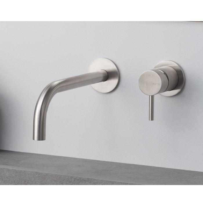 Gruppo miscelatore monocomando a parete per lavabo, senza scarico e senza raccorderia di collegamento timber steel Vema