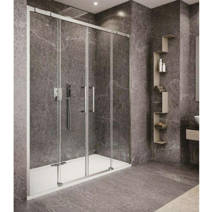 Porta scorrevole doccia in nicchia con due ante scorrevoli della collezione valley di Hous