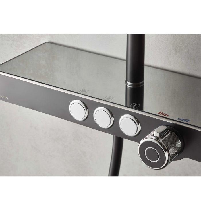 Colonna doccia esterna da parete con soffione quadro miscelatore termostatico incorporato, set doccetta di Vema