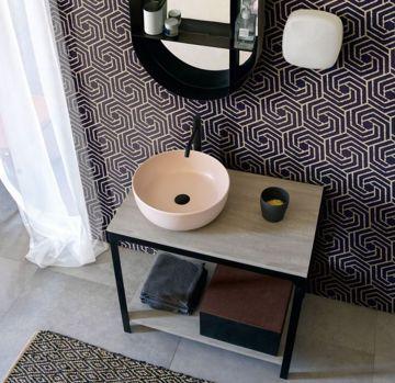 Mobile da bagno con ripiani in legno della collezione Able di Scarabeo