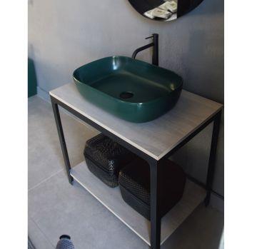 Mobile da bagno con ripiani in legno della collezione Able in Scarabeo