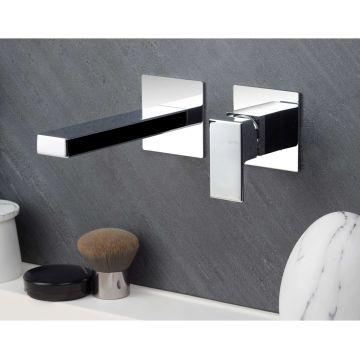 Gruppo miscelatore monocomando a parete per lavabo, senza scarico, con bocca L180 e raccorderia di collegamento Lys Di Vema