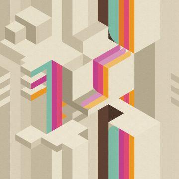 Carta da parati a fantasia Inkiostro Bianco della linea Tetriso con variante crema